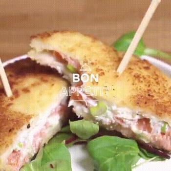 Une belle recette de croque monsieur pané au saumon