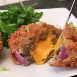 Superbe recette d'oignons frits et fourrés façon burger